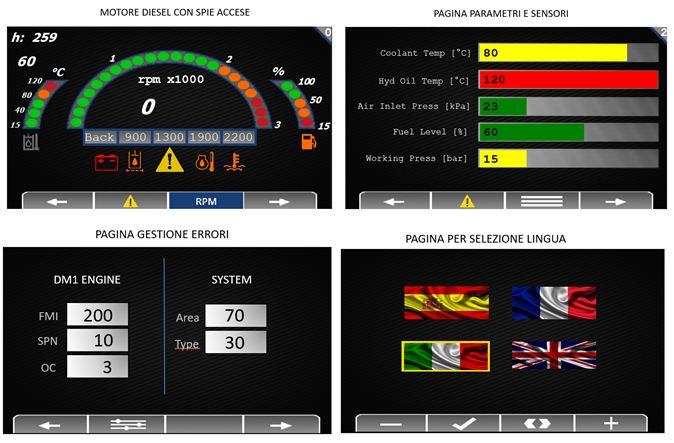 Motore diesel con spie accese_ pagina parametri e sensori